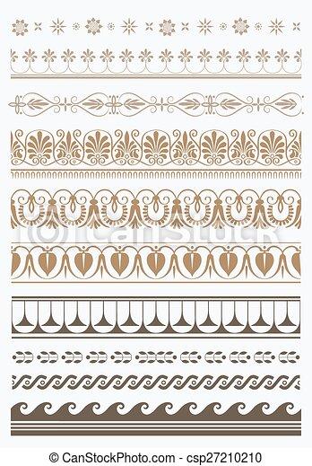 Set of vector antique greek borders - csp27210210