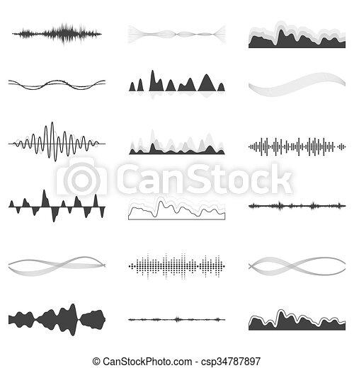 Set of vector audio scales. - csp34787897