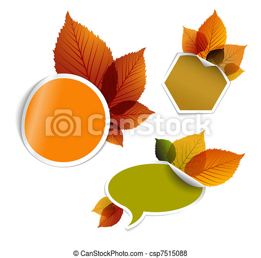 Set of vector autumn discount tickets, labels, stamps, stickers - csp7515088