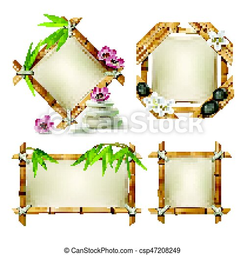 Set of vector bamboo frames. Set of vector illustrations of... eps ...