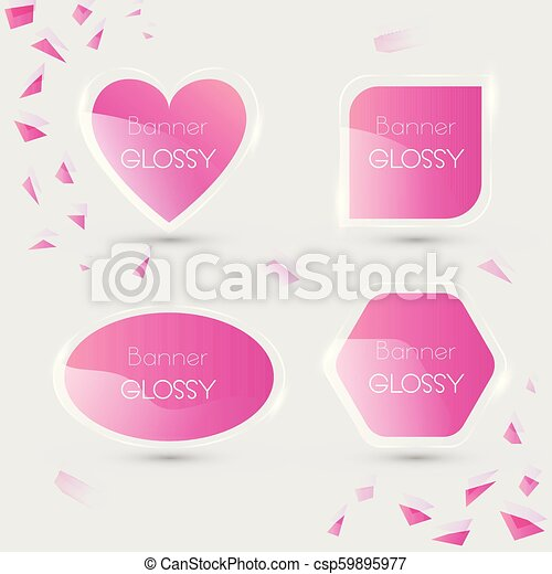 Set of vector banner glossy with color pink - csp59895977