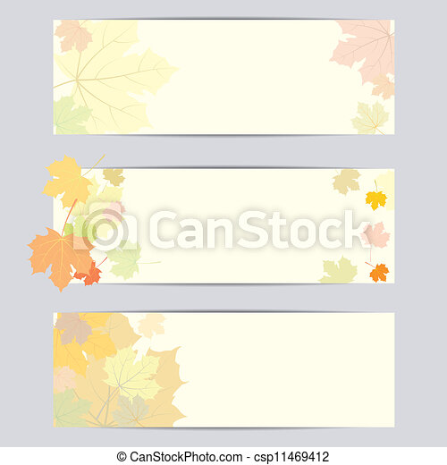 Set of vector banner with autumn leaves - csp11469412
