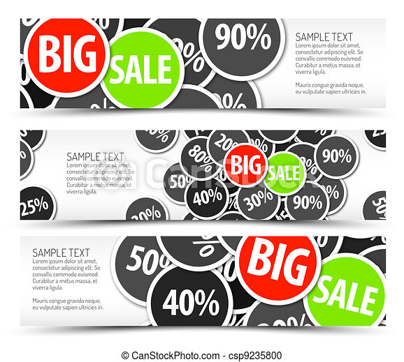 Set of vector big sale horizontal banners - csp9235800