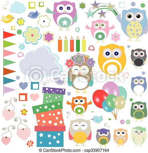 Set of vector birthday party elements with cute owls - csp33907164