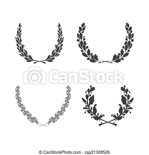 Set of vector black and white circular foliate wreaths for award achievement heraldry and nobility - csp21308526