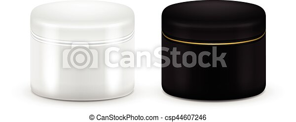 Set of vector Blank Cosmetic Container for Cream, Powder or Gel. Black and white color. Cosmetic container. Mock up. - csp44607246