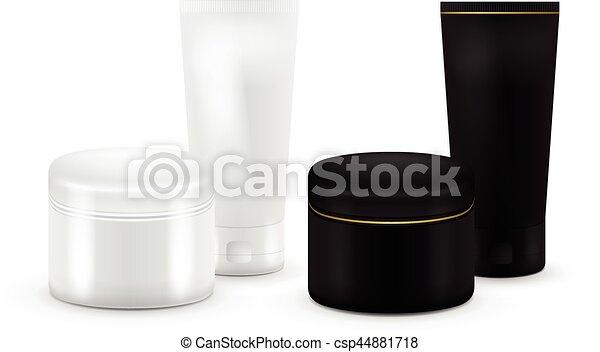 Set of vector Blank Cosmetic Container for Cream, Powder or Gel. Black and white color. Cosmetic container. Mock up. Tube Of Toothpaste, Cream, Serum or Clean. Product Packing. - csp44881718