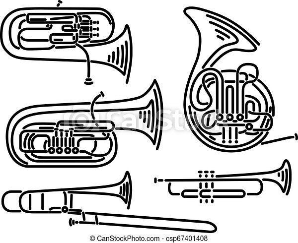 Set of vector brass wind musical instruments drawn by lines. - csp67401408