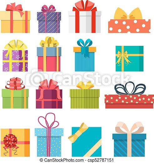Christmas Gift Box.Set Of Vector Christmas Gift Box