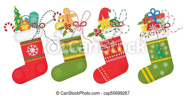 set of vector christmas socks in red andd green colors with various patterns stocking collection - Why Are Red And Green Christmas Colors