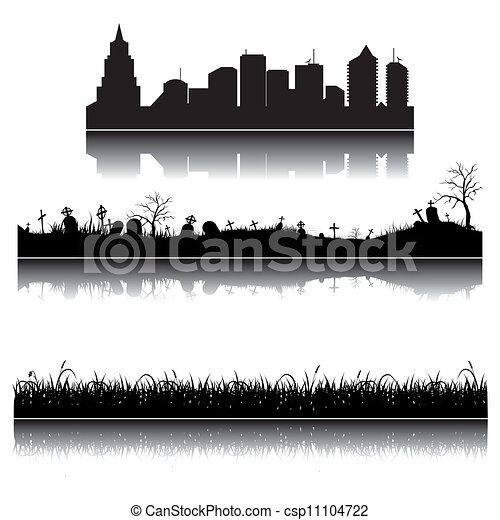 Set of vector city, grass and graveyard silhouettes - csp11104722