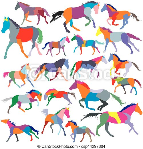 Set of vector colorful trotting and galloping horses silhouettes - csp44297804