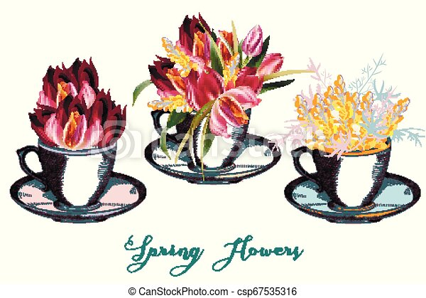 Set of vector cups with flowers - csp67535316