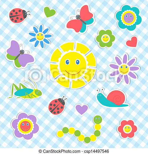 Set of vector cute insects and flowers - csp14497546
