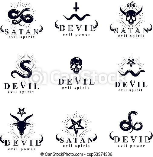 Set Of Vector Demonic Infernal Mystic Logotypes Created Using