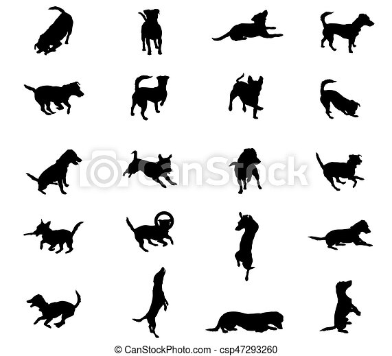 Set of vector dogs silhouettes - csp47293260