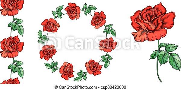 Set of vector floral arrangements with rose flowers. - csp80420000