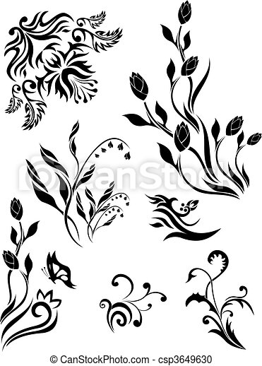 Set of vector floral patterns 1 - csp3649630