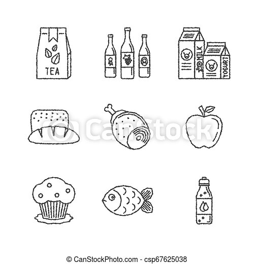 Set of vector food icons in sketch style - csp67625038