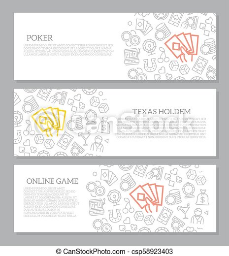 Set of vector gambling and casino horizontal banners with icon pattern. Vector illustration - csp58923403