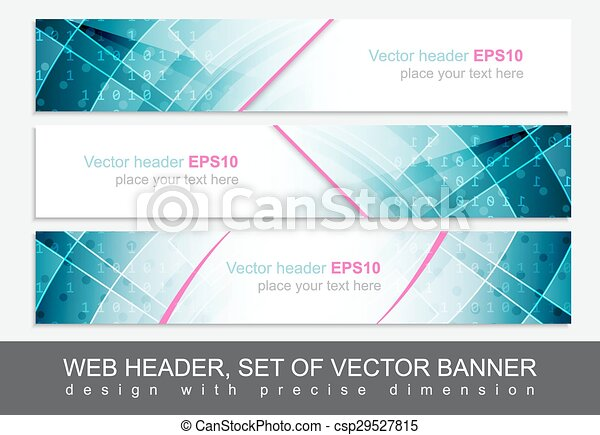 Set of vector header or banner. Design with precise dimension. - csp29527815
