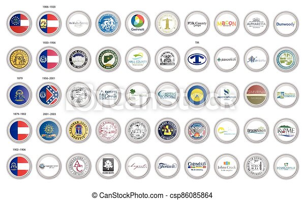 Set of vector icons. Flags and seals of Georgia state, USA. - csp86085864