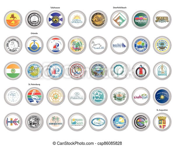 Set of vector icons. Flags and seals of Florida state, USA. - csp86085828