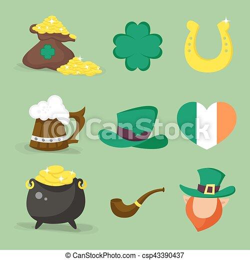 Set of vector icons for St.Patrick's day design. Four-leaf clover, golden horseshoe, heart shaped flag of Ireland, Leprechaun. - csp43390437