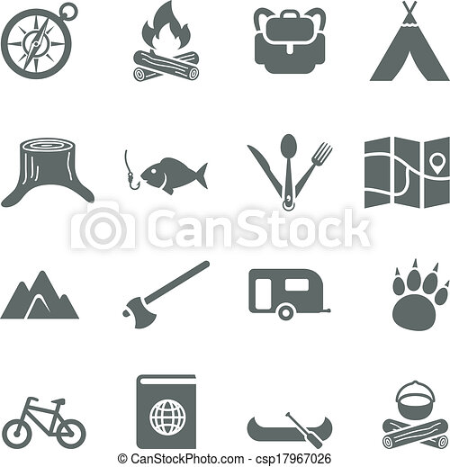 Set of vector icons for tourism, travel and camping. - csp17967026