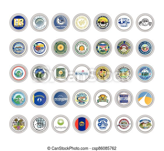 Set of vector icons. Seals of California state, USA. - csp86085762