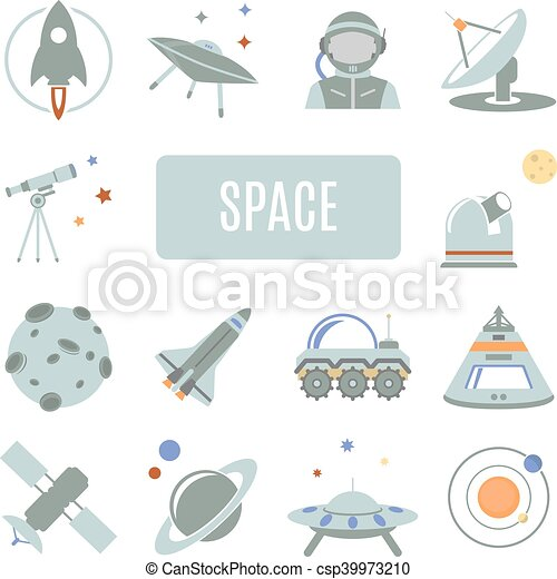 Set of vector icons. Space - csp39973210