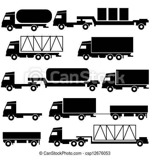 Set of vector icons - transportation symbols. Black on white. - csp12676053
