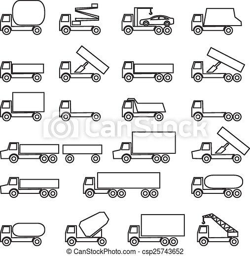 Set of vector icons - transportation symbols. Black on white. Ve - csp25743652