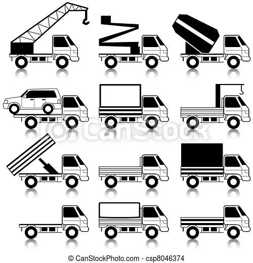 Set of vector icons - transportation symbols. Black on white. Cars, vehicles. Car body. - csp8046374