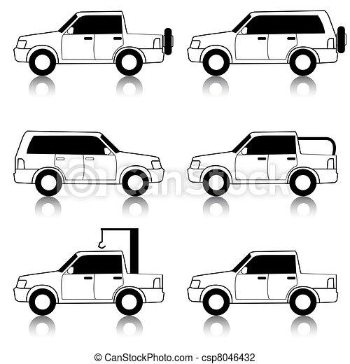 Set of vector icons - transportation symbols. Black on white. Cars, vehicles. Car body. - csp8046432