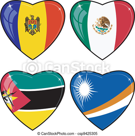 Set of vector images of hearts with the flags of Marshall Islands, Mexico, Mozambique, Moldova - csp9425305
