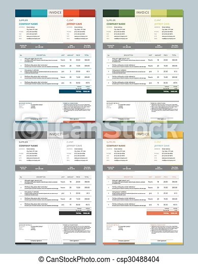 Set Of Vector Invoice Design Templates 4 Color Themes