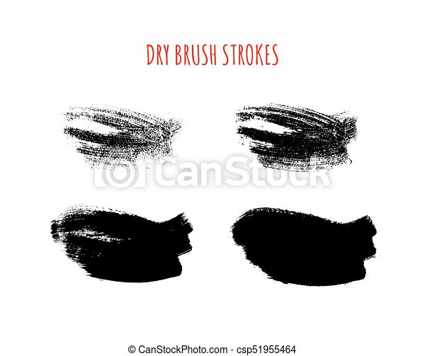 set of vector isolated hand drawn dry brush textured strokes