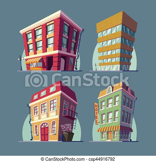 Set of vector isometric icons buildings in Cartoon style - csp44916792