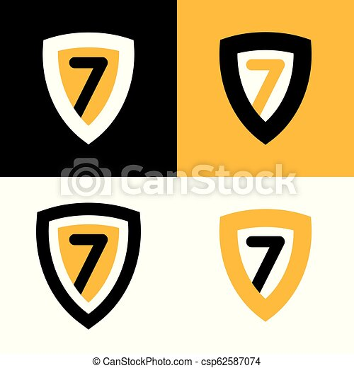 Set Of Vector Logo In Black Yellow And White Colors Shield Badge