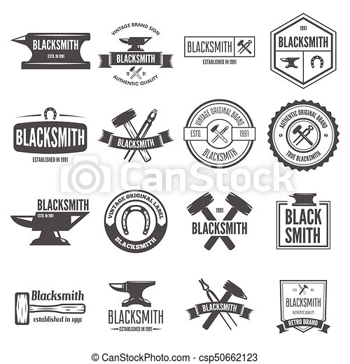 Set of vector logotypes elements, labels, badges and silhouettes for blacksmith - csp50662123
