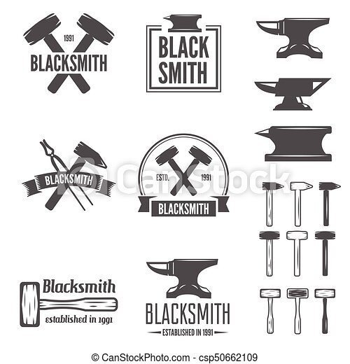 Set of vector logotypes elements, labels, badges and silhouettes for blacksmith - csp50662109