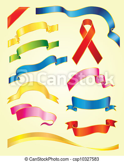 Set of vector multicolored ribbons - csp10327583
