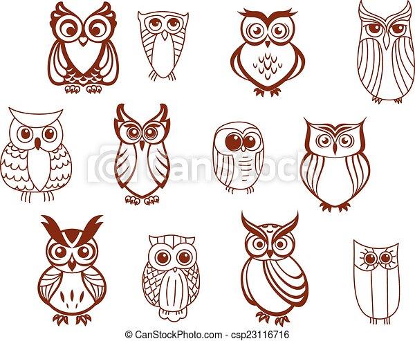 Set of vector owls - csp23116716