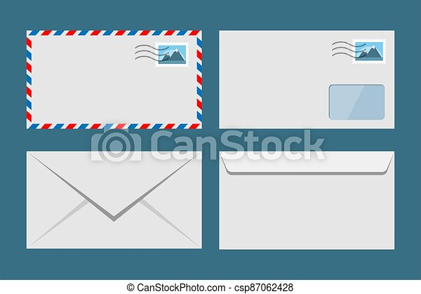 Set of vector paper envelopes. Postal envelope with stamp - csp87062428