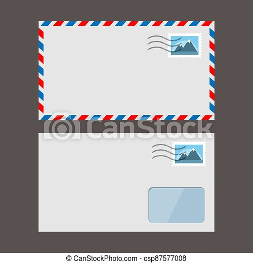 Set of vector paper envelopes. Postal envelope with stamp - csp87577008