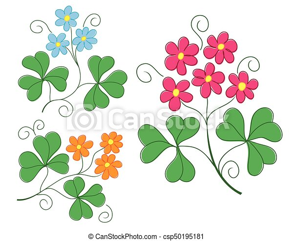 set of vector plants with flowers - csp50195181