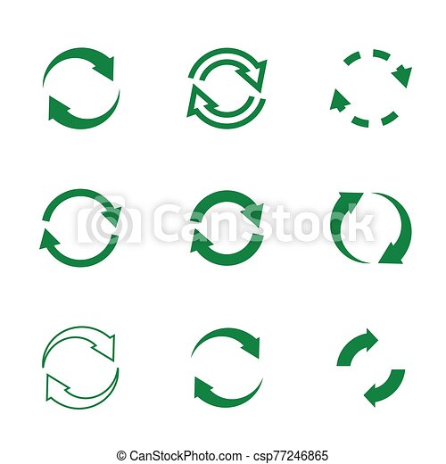 Set of vector refresh and recycling arrows for web. COLLECTION OF ICONS. - csp77246865