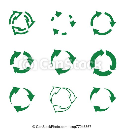 Set of vector refresh and recycling arrows for web. COLLECTION OF ICONS. - csp77246867