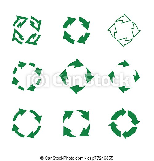 Set of vector refresh and recycling arrows for web. COLLECTION OF ICONS. - csp77246855